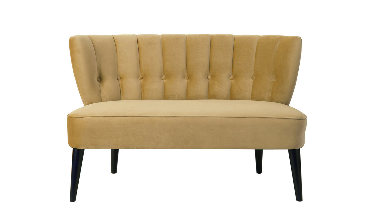 Becca Tufted Channel Back Settee, Gold