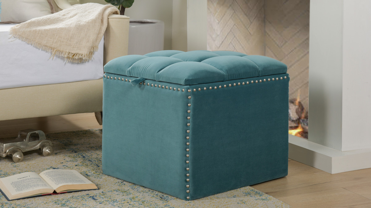 Incredible Natalia Storage Ottoman Arctic Blue Ocoug Best Dining Table And Chair Ideas Images Ocougorg