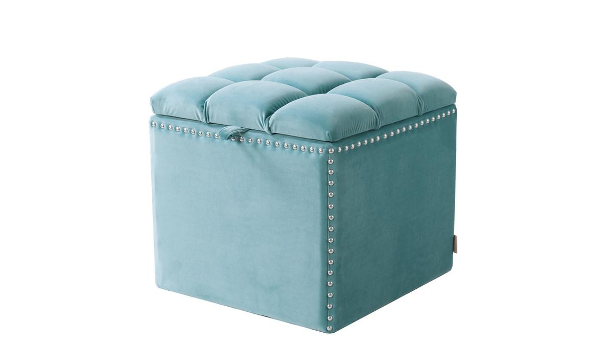 Natalia Storage Ottoman, Arctic Blue