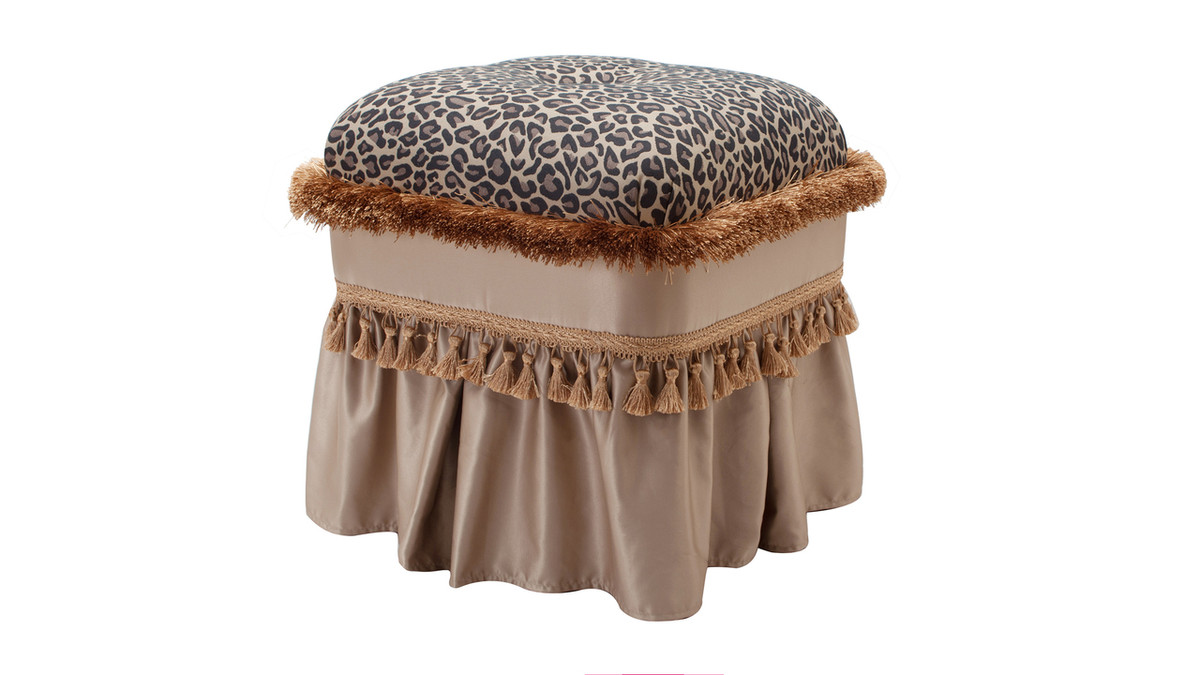 Cassandra Traditional Decorative Ottoman, Jacquard, Brown & Beige