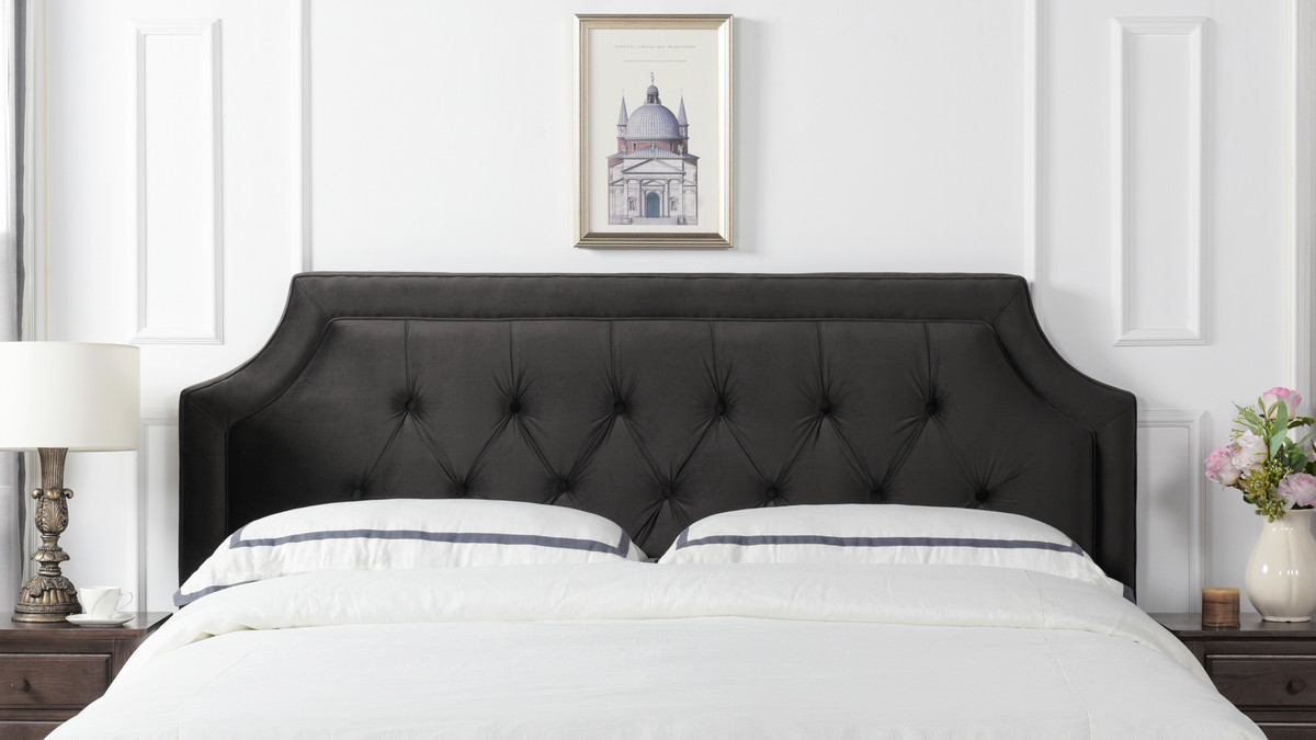 Kaye Tufted Headboard Dark Charcoal Grey King Size Jennifer Taylor Home