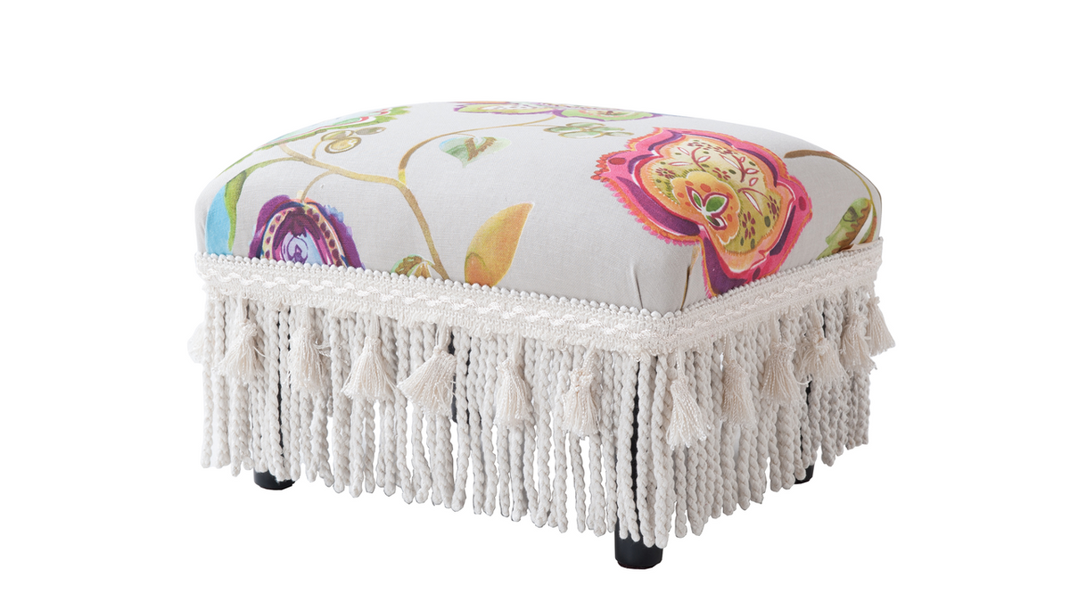 Fiona Traditional Decorative Footstool, Floral Red, Taupe, & Green