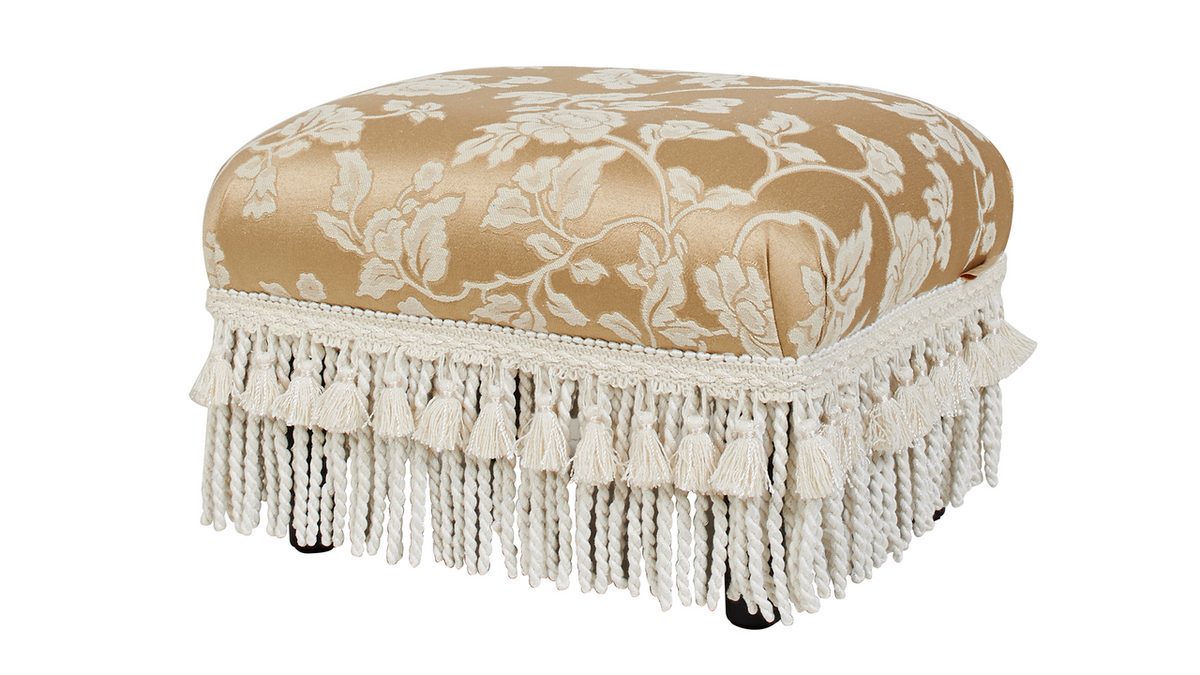 Fiona Traditional Decorative Footstool, Floral Neutral