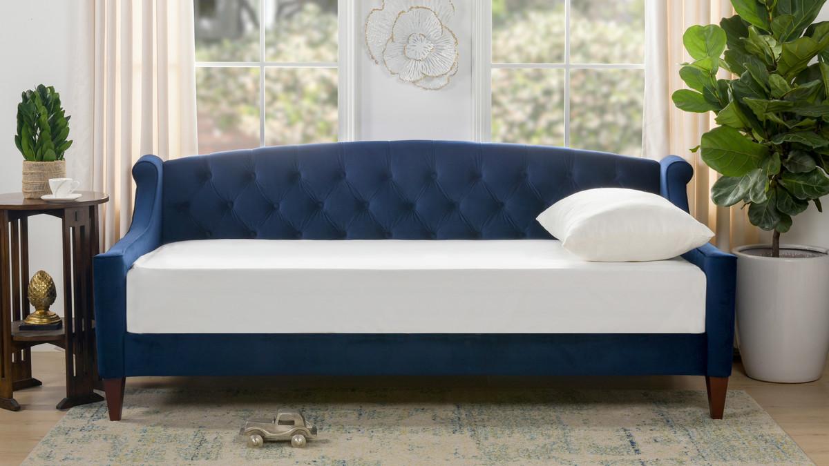 Lucy Upholstered Sofa Bed, Navy Blue   Jennifer Taylor Home