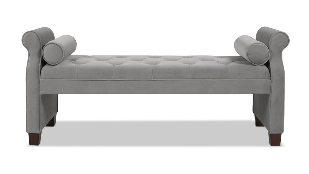Jocelyn Roll Arm Lounge Entryway Bench, Opal Grey
