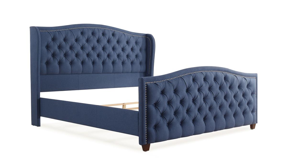 Marcella Upholstered Bed, King, Dark Sapphire Blue