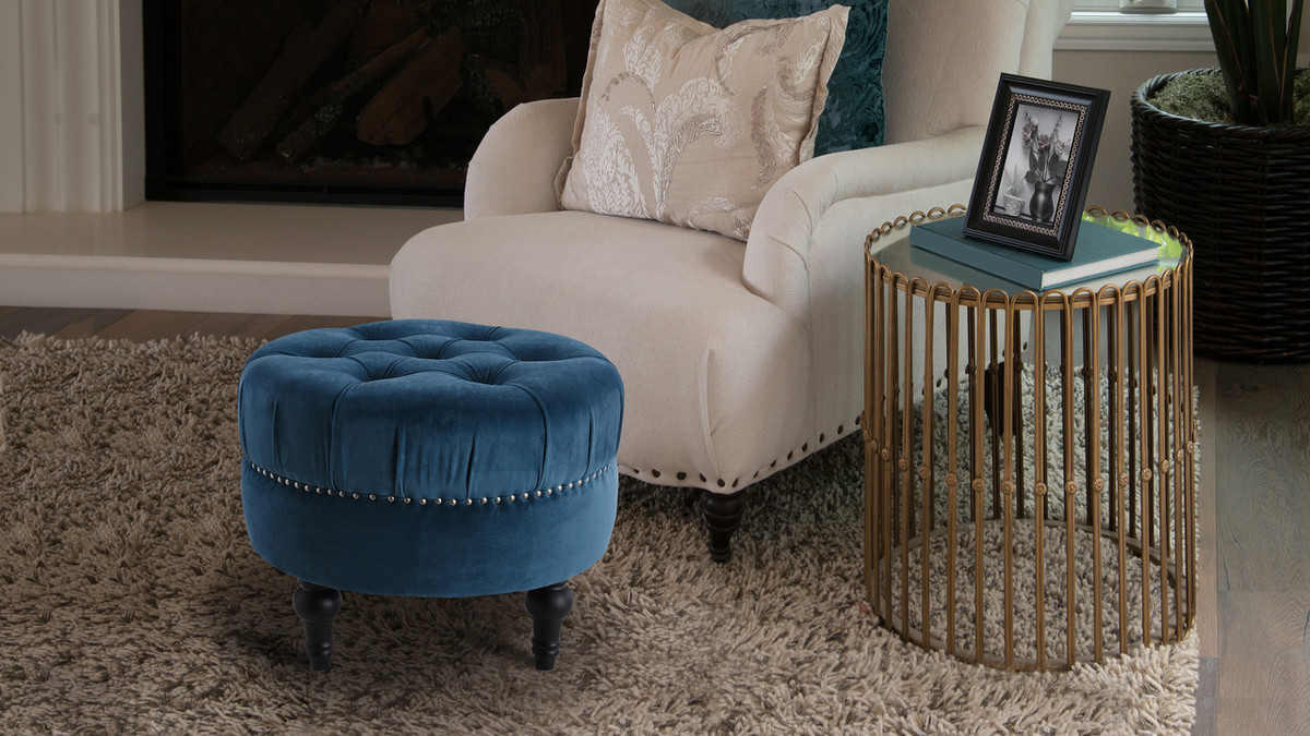 Stupendous Dawn Tufted Round Ottoman Satin Teal Andrewgaddart Wooden Chair Designs For Living Room Andrewgaddartcom