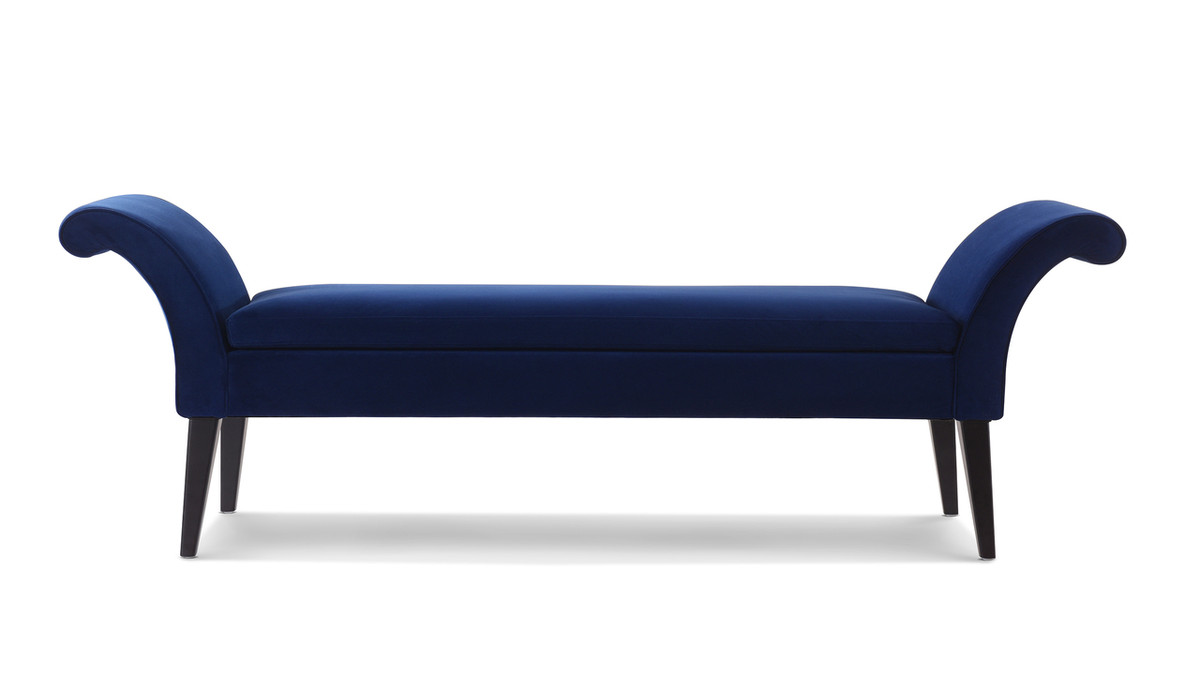 Alexis Flared Arm Entryway Bench, Navy Blue