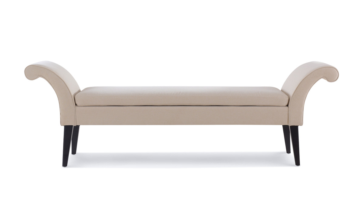 Alexis Flared Arm Entryway Bench, Sky Neutral