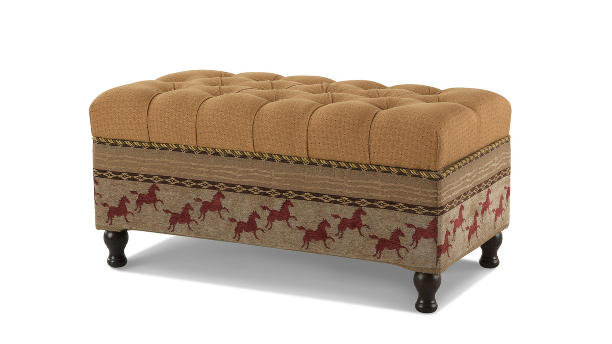 Equestrian Flip Top Entryway Storage Bench, Gold and Brown