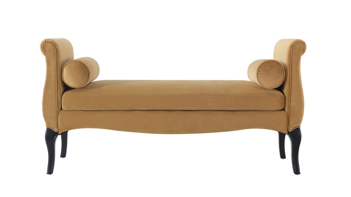 Olivia Roll Arm Entryway Bench, Gold