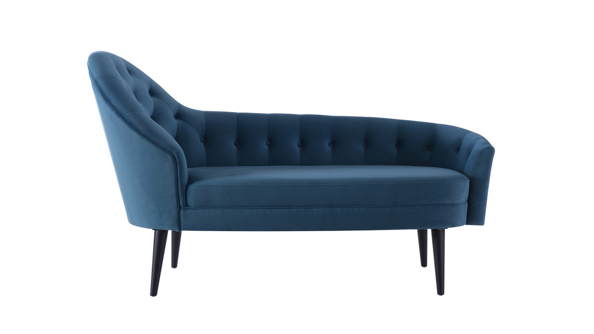 Kayleigh Tufted Chaise Lounge, Satin Teal