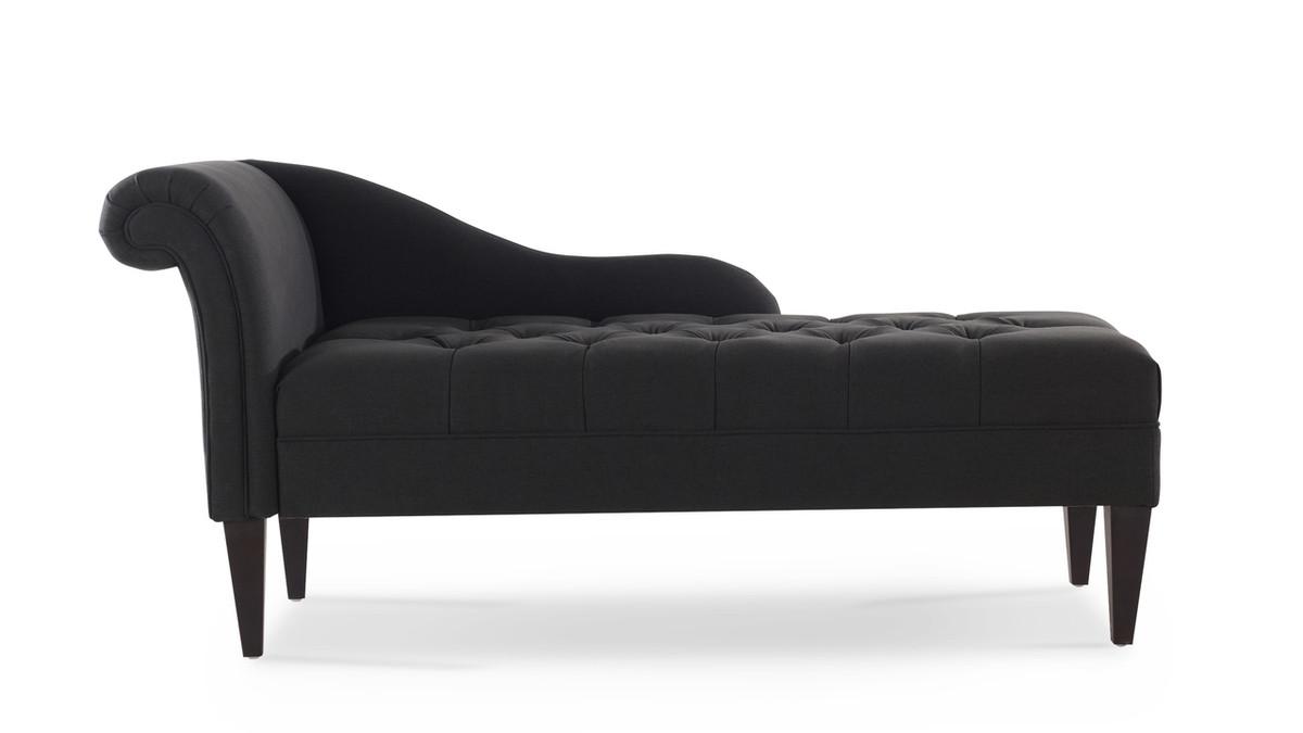 Harrison Tufted Chaise Lounge, Jet Black