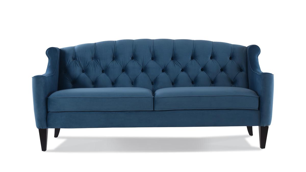 Ken Upholstered Button Tufted Sofa, Satin Teal