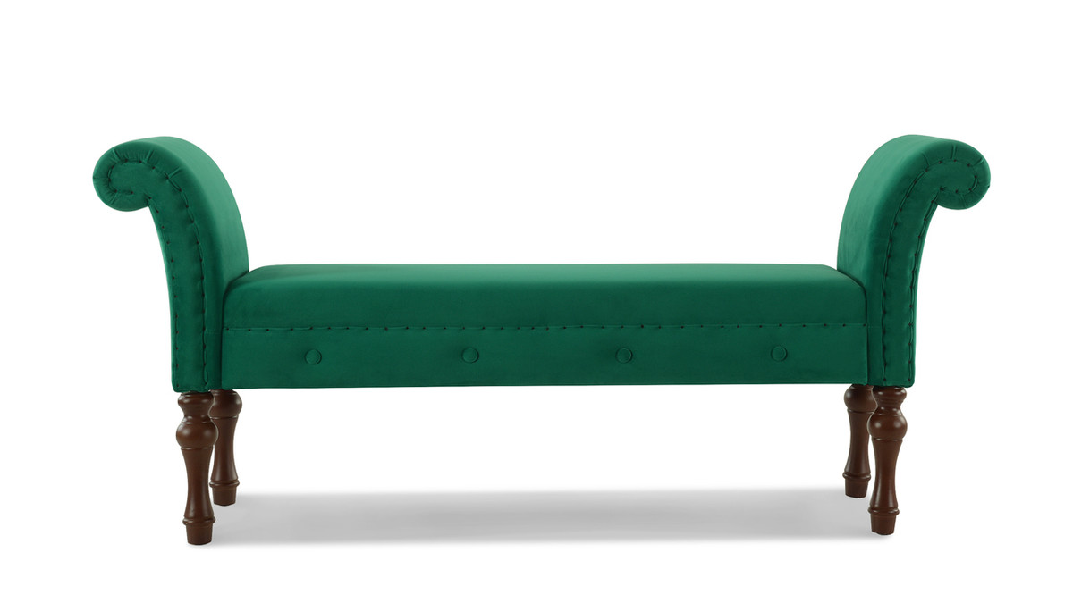 Elise Roll Arm Entryway Bench, Ultramarine Green