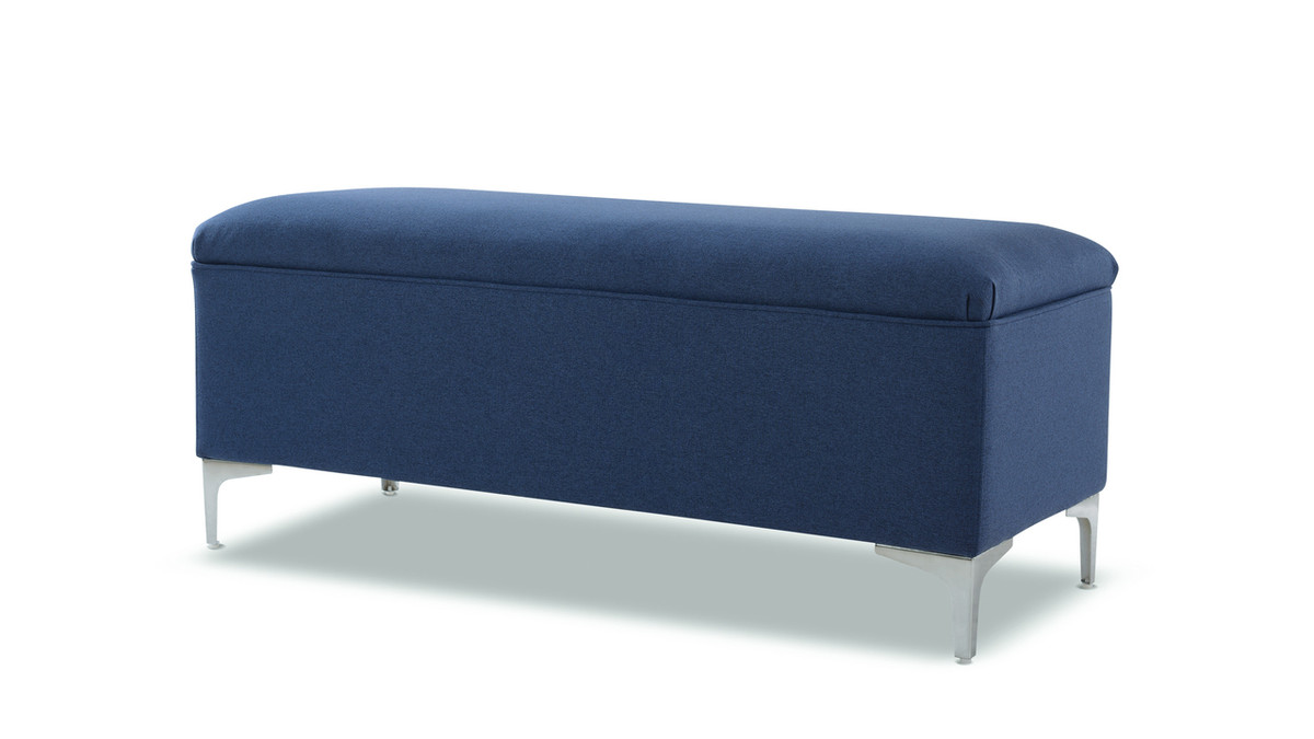 Serina Flip Top Storage Bench, Dark Sapphire Blue