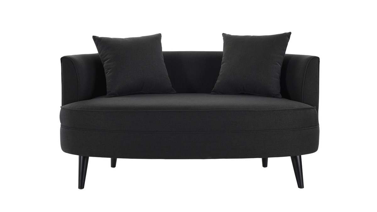 Leon Settee with Throw Pillows, Jet Black