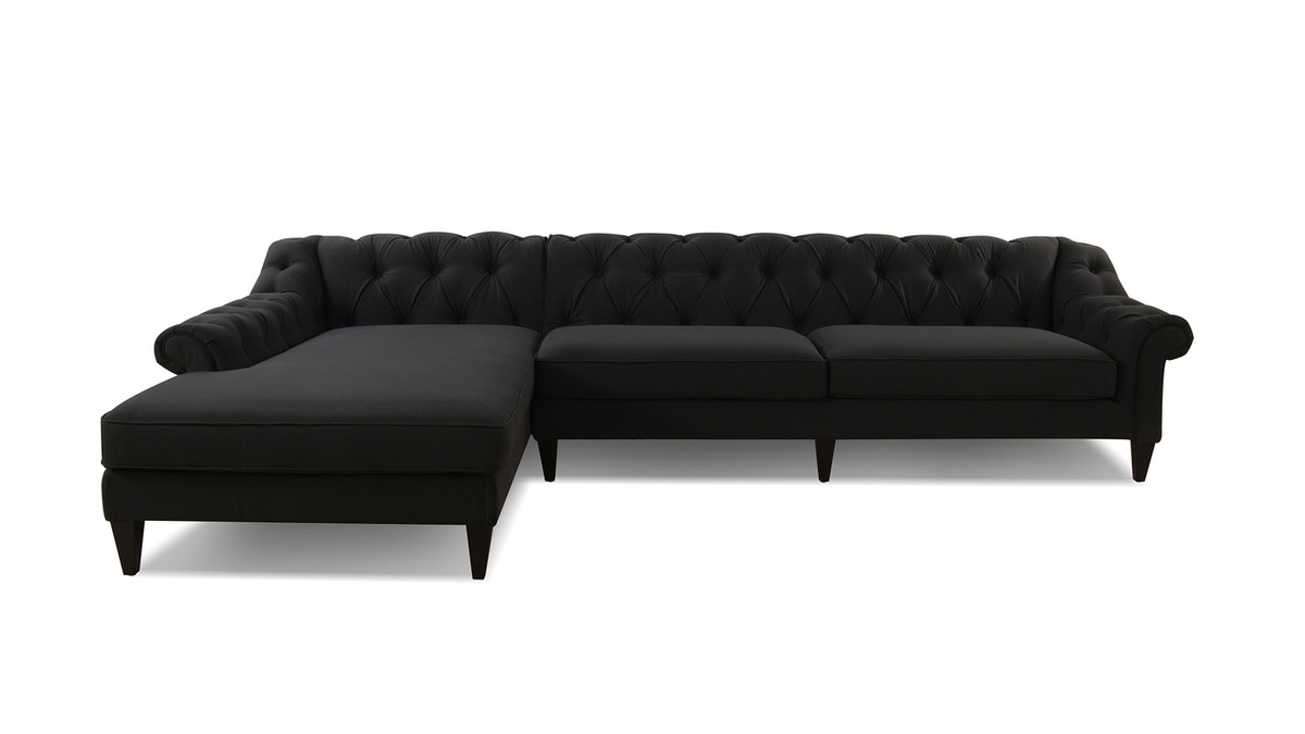 Alexandra Tufted Left Sectional Sofa Jet Black Jennifer