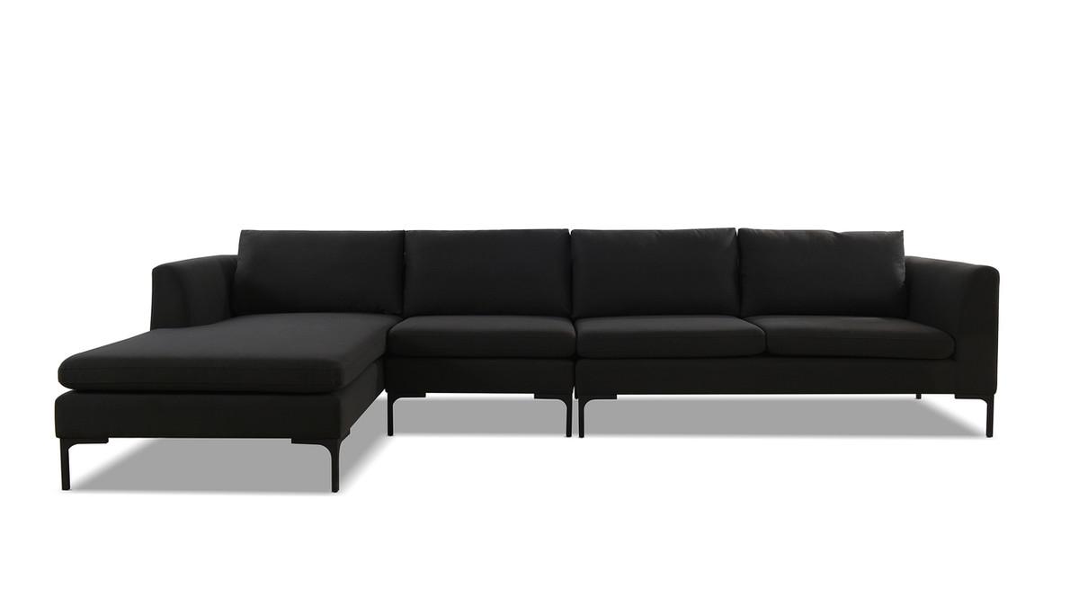 Weylyn LAF Chaise Sectional Sofa, Jet Black