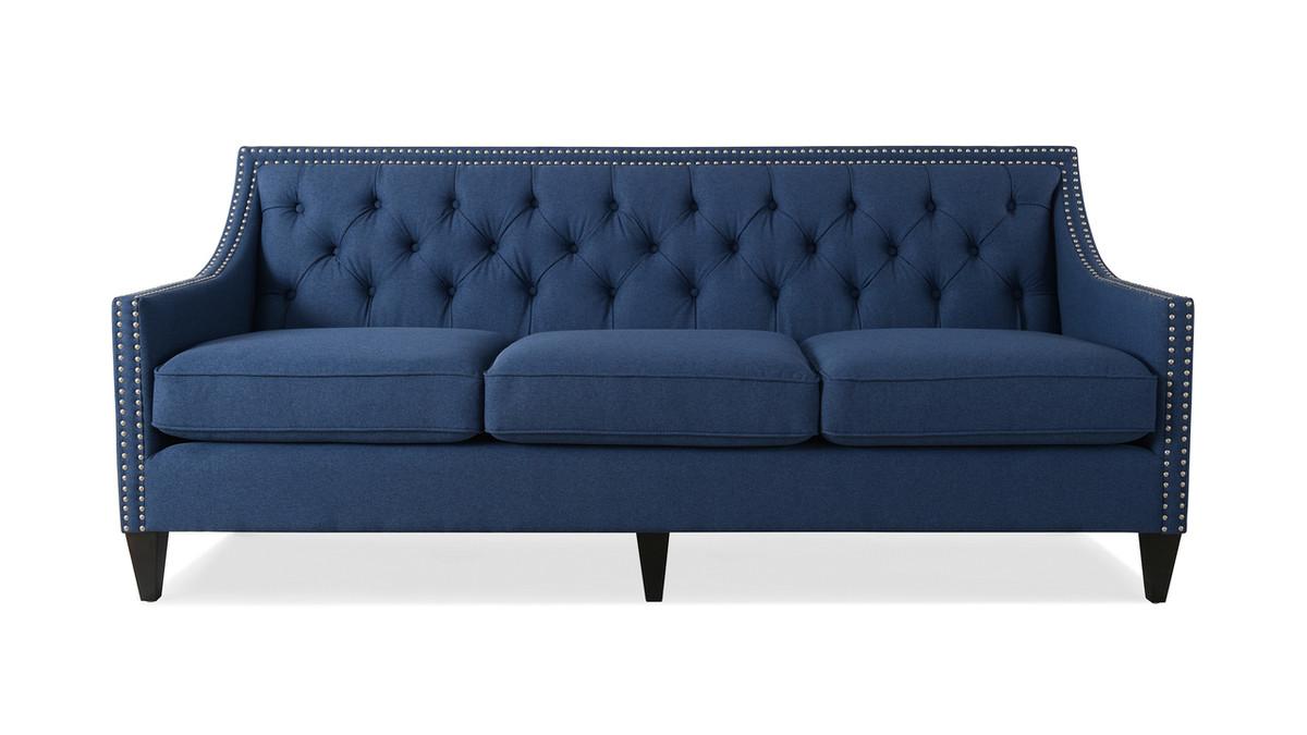 Marianne Tufted Sofa Nailhead Accents, Dark Sapphire Blue