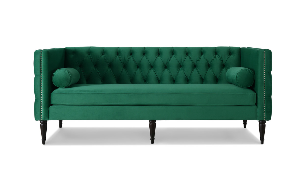 Diane Button Tufted Tuxedo Sofa, Ultramarine Green