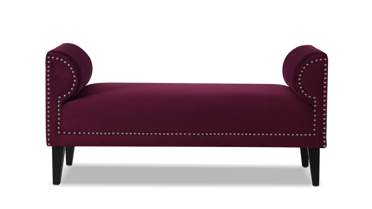Paloma Roll Arm Upholstered Bench, Burgundy