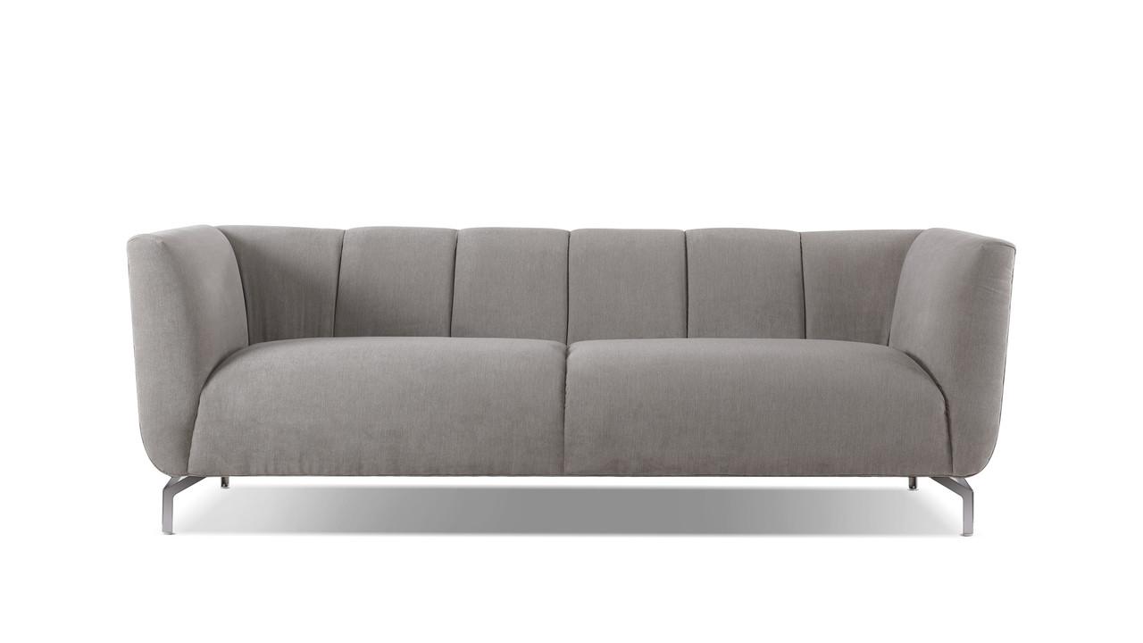 Abella Modern Contemporary Sofa, Silver Grey
