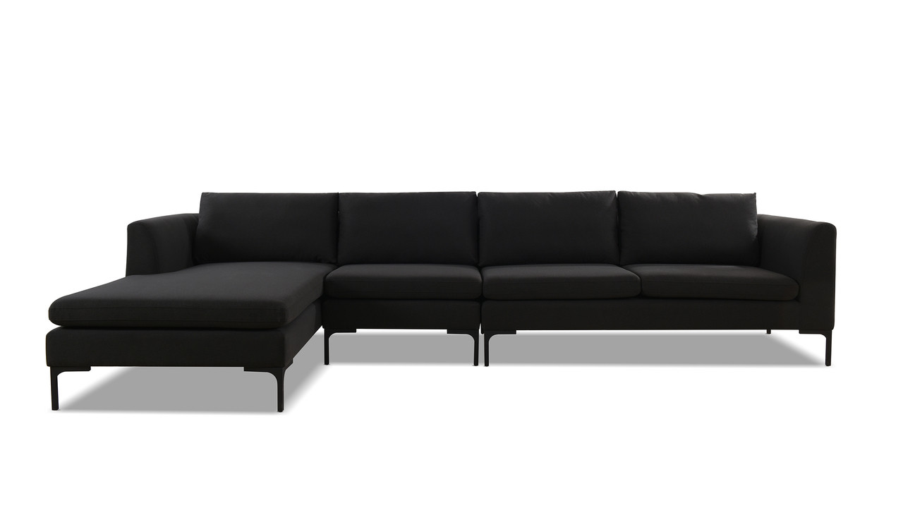 Weylyn LAF Chaise Sectional Sofa, Jet Black - Jennifer Taylor Home