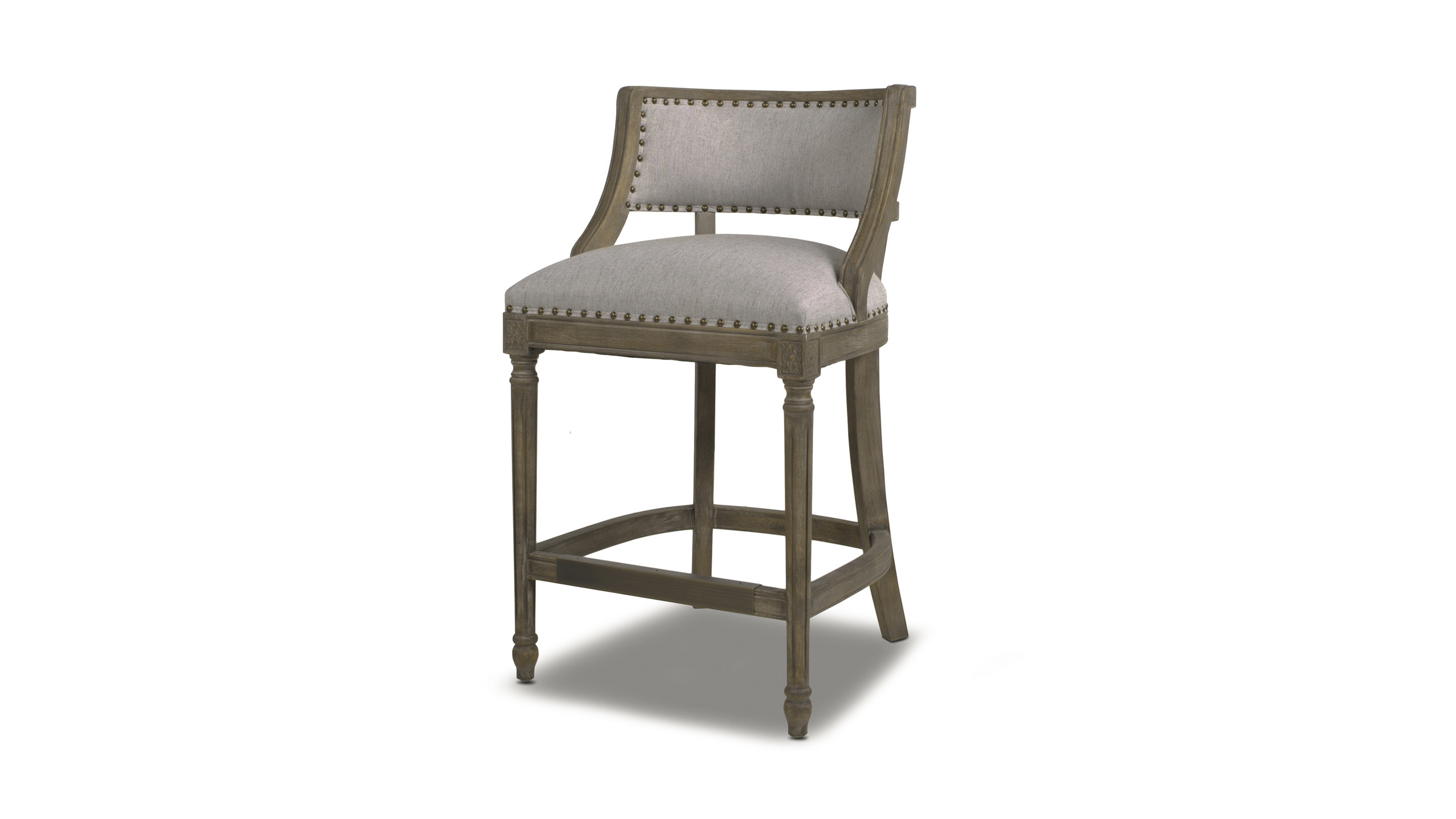 Paris 26 Farmhouse Counter Height Bar Stool With Backrest Light Heathered Grey Jennifer Taylor Home