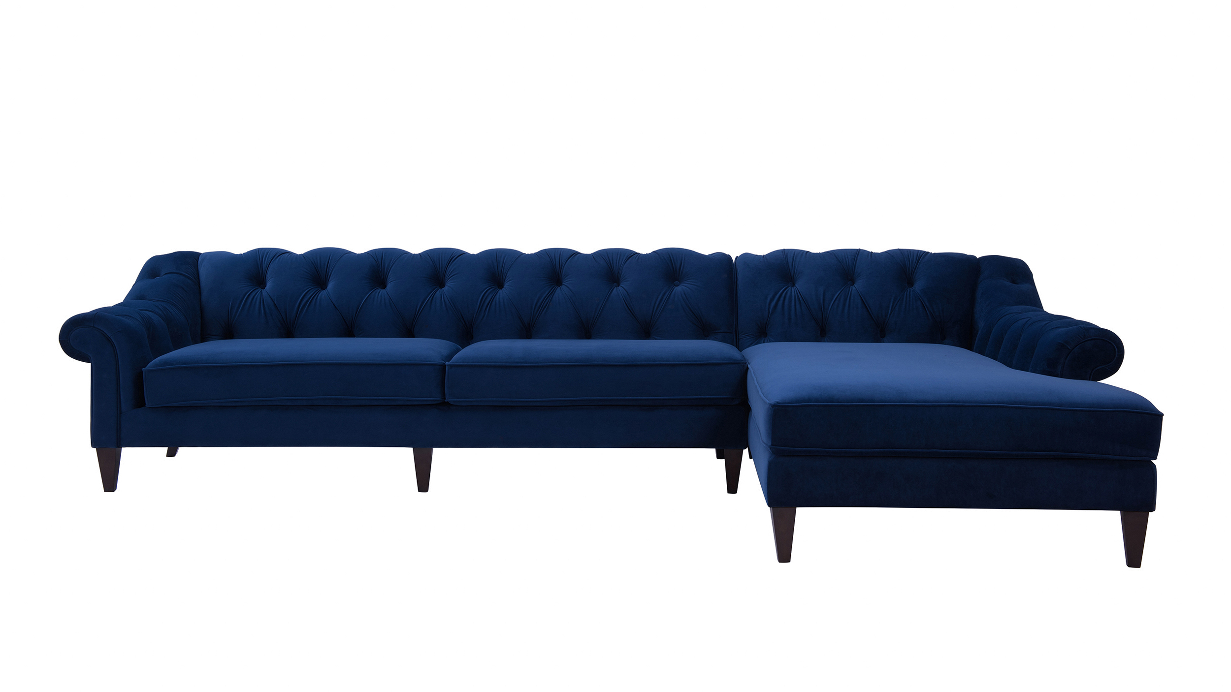 Alexandra Tufted Right Sectional Sofa Navy Blue Jennifer Taylor Home