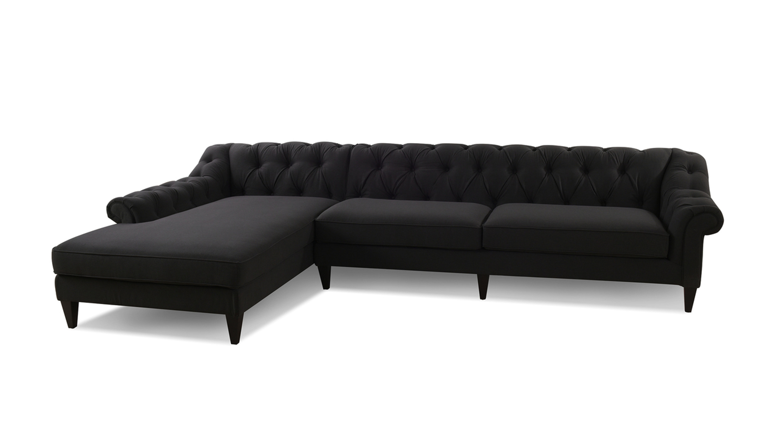 Amazing Alexandra Tufted Left Sectional Sofa Jet Black Alphanode Cool Chair Designs And Ideas Alphanodeonline