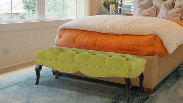 Camari Upholstered Bench, Moss Green