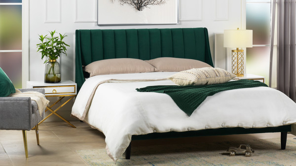 Aspen Upholstered Platform Bed, Queen, Evergreen
