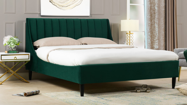 Aspen Upholstered Platform Bed, King, Evergreen