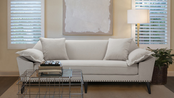 Remington Mid-Century Tuxedo Sofa, Bone White