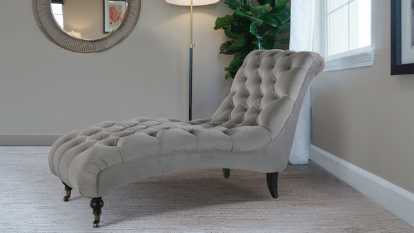 Angelica Tufted Chaise Lounge, Opal Grey