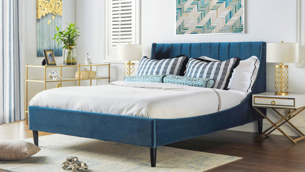 Aspen Upholstered Platform Bed, Queen, Satin Teal