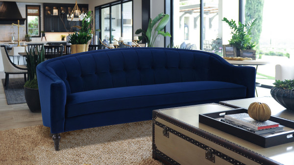 Stewart Curved Back Sofa, Navy Blue