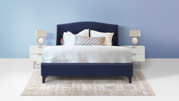 Everly Wingback Platform Bed, Queen, Midnight Blue