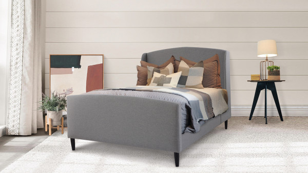 Gia Wingback Platform Bed, Queen, Light Grey