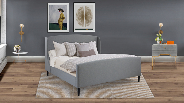 Gia Wingback Platform Bed, King, Light Grey