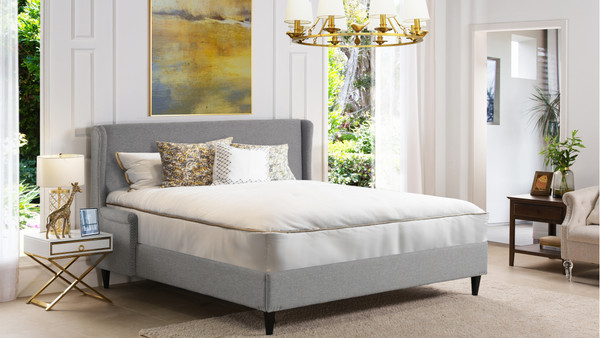 Clarice Wingback Accent Platform Bed, Queen, Light Grey