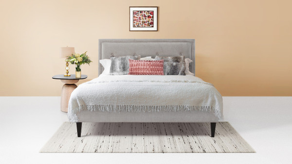 Lexy Modern Platform Bed, Queen, Silver Grey