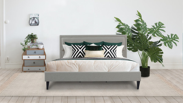 Lexy Modern Platform Bed, King, Taupe
