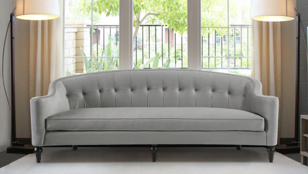 Stewart Curved Back Sofa, Opal Grey