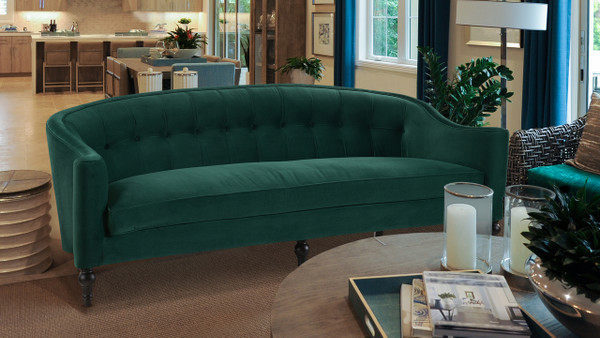 Stewart Curved Back Sofa, Evergreen