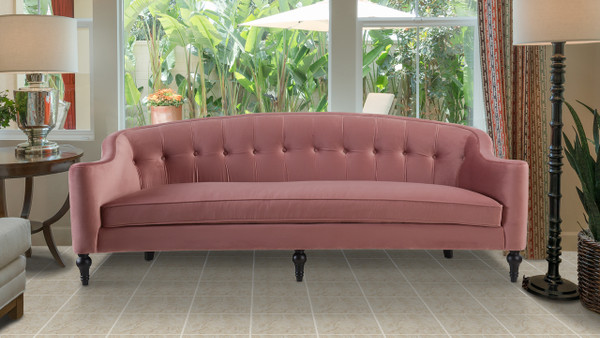 Stewart Curved Back Sofa, Ash Rose