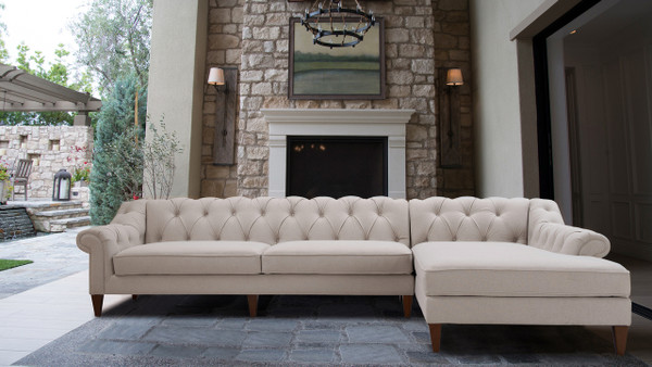 Alexandra Tufted Right Sectional Sofa, Sand Beige