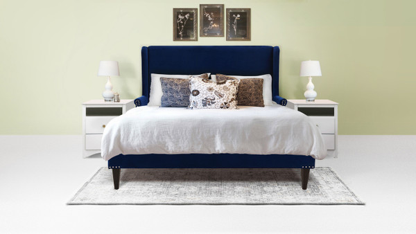 Clarice Wingback Accent Platform Bed, Queen, Navy Blue