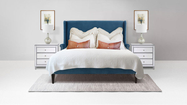 Clarice Wingback Accent Platform Bed, Queen, Satin Teal